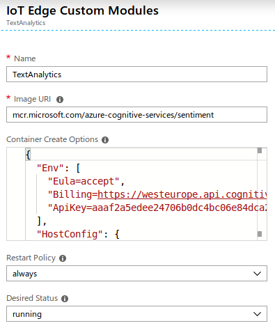 Deploying Azure Cognitive Services Containers with IoT Edge