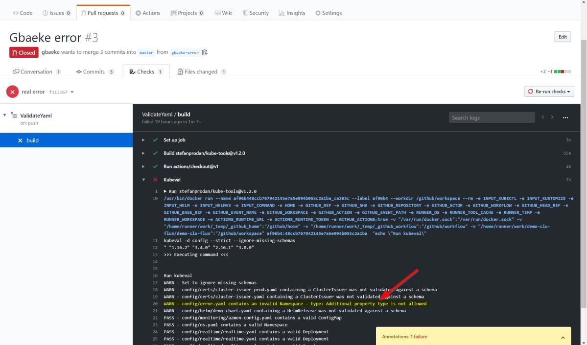 Check your yaml files with kubeval and GitHubActions